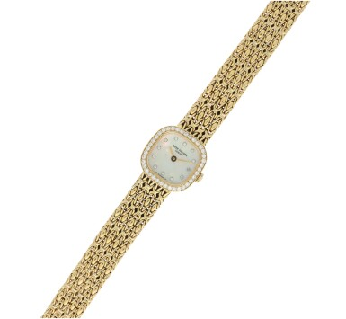 View 4. Thumbnail of Lot 57.  PATEK PHILIPPE | REFERENCE 4712/1 A YELLOW GOLD AND DIAMOND-SET SQUARE BRACELET WATCH, MADE IN 1987.