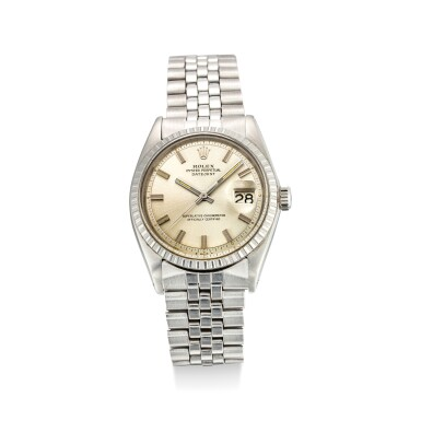 View 1. Thumbnail of Lot 608. ROLEX | DATEJUST REFERENCE 1603 A STAINLESS STEEL WRISTWATCH WITH DATE AND BRACELET, CIRCA 1969.