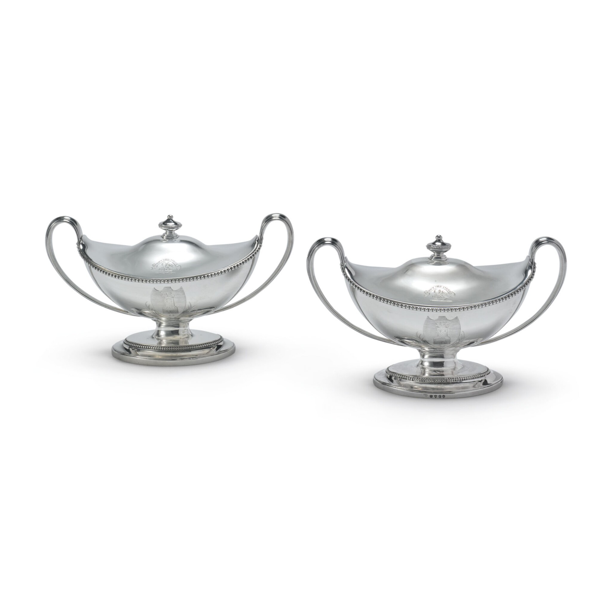 A PAIR OF GEORGE III SILVER SAUCE TUREENS AND COVERS, JAMES YOUNG, LONDON, 1792