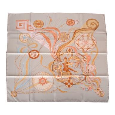 "View 6. Thumbnail of Lot 98. Hermès Set of Two Scarves:""La Danse du Cosmos"" Silk Twill Scarf 90cm and ""Armeria"" Silk Twill 90cm."