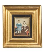 ATTRIBUTED TO MOSES B. RUSSELL | MINIATURE PORTRAIT OF MOTHER AND CHILD IN A BLUE DRESS WITH A PULL-TOY POODLE