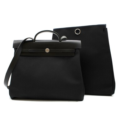 View 2. Thumbnail of Lot 113. HERMÈS | BLACK HERBAG MM 2-IN-1 IN HUNTER COWHIDE WITH PALLADIUM HARDWARE, 1999.