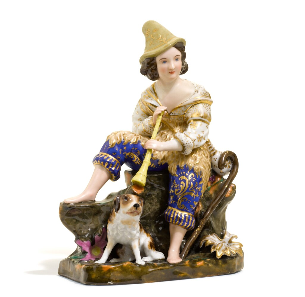 A PORCELAIN FIGURE OF A SHEPHERD AND HIS DOG, KORNILOV BROTHERS FACTORY, ST PETERSBURG, 1843-1861