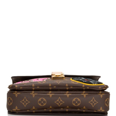 View 6. Thumbnail of Lot 114.  Louis Vuitton Monogram Patches Pochette Metis of Coated Canvas with Golden Brass Hardware.