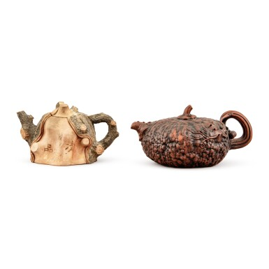 View 1. Thumbnail of Lot 28. Two stoneware teapots and covers, 20th century.