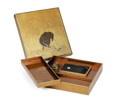 View 2. Thumbnail of Lot 74. A rare nashiji gold and silver inlaid suzuribak, Japan, Edo period.