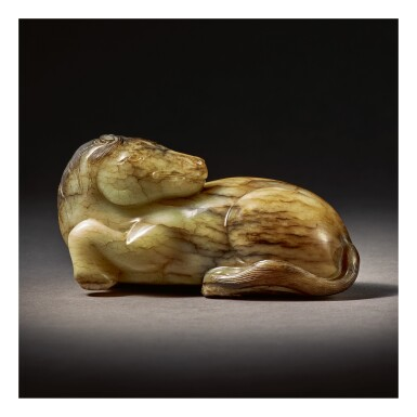 View 1. Thumbnail of Lot 223.  A CELADON AND BROWN JADE CARVING OF A HORSE,  YUAN / MING DYNASTY.