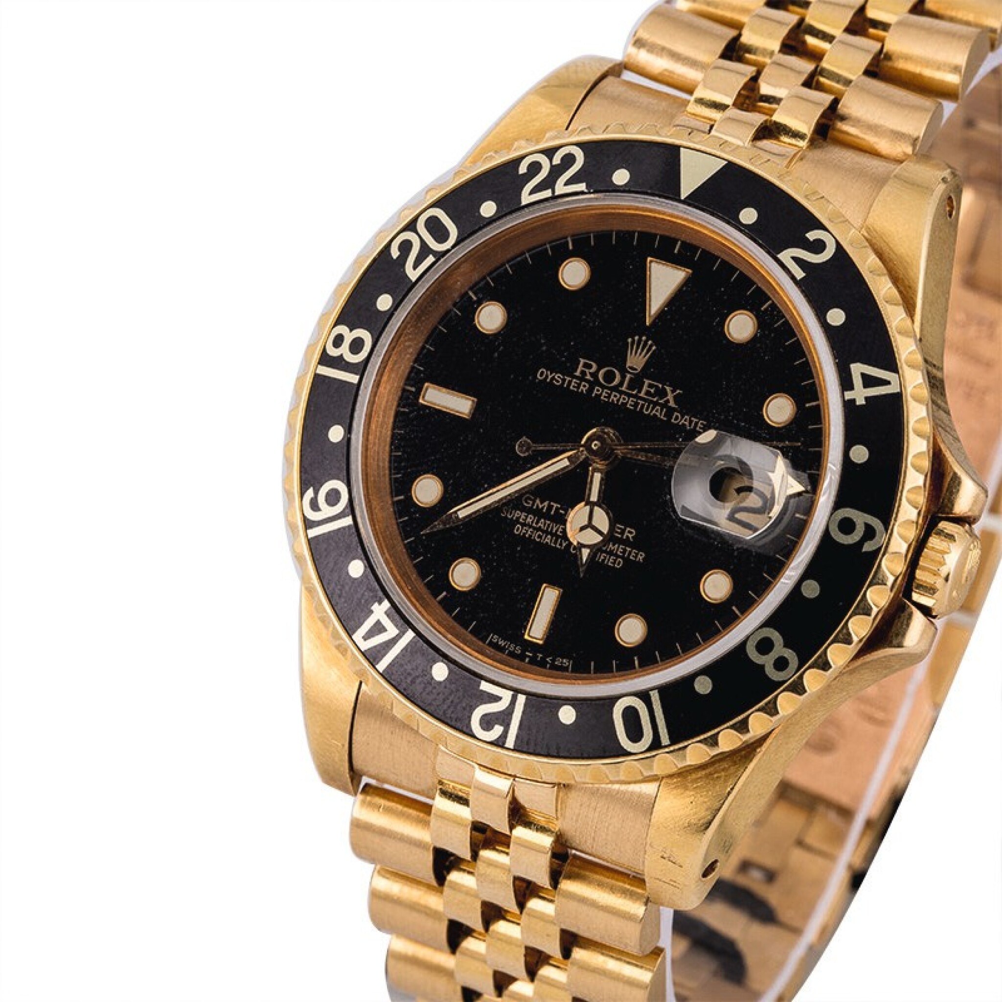 View full screen - View 1 of Lot 8. ROLEX | GMT-Master, Ref. 16758, A Yellow Gold Wristwatch with Bracelet Circa 1981.