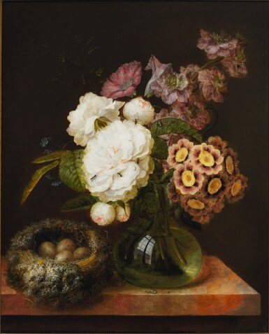 View 1. Thumbnail of Lot 133. GEORGES FRÉDÉRIC ZIESEL  |  BOUQUET OF FLOWERS IN A VASE AND A BIRD'S NEST ON A MARBLE TABLE.