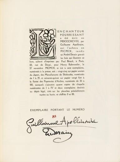 View 4. Thumbnail of Lot 126.  L'Enchanteur pourrissant. 1909. Exemplaire sur vélin de Paul Bonet, relié par et pour lui-même.