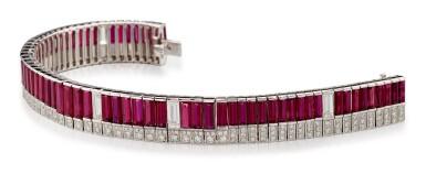 RUBY AND DIAMOND BRACELET | 紅寶石 配 鑽石 手鏈﹙ 紅寶石共重約19.85卡拉﹚