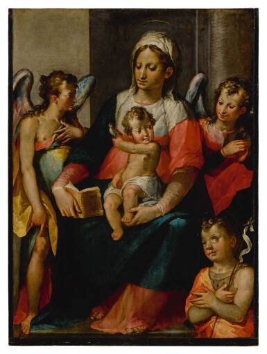 View 1. Thumbnail of Lot 574. The Madonna and Child with Young St. John the Baptist and two angels.