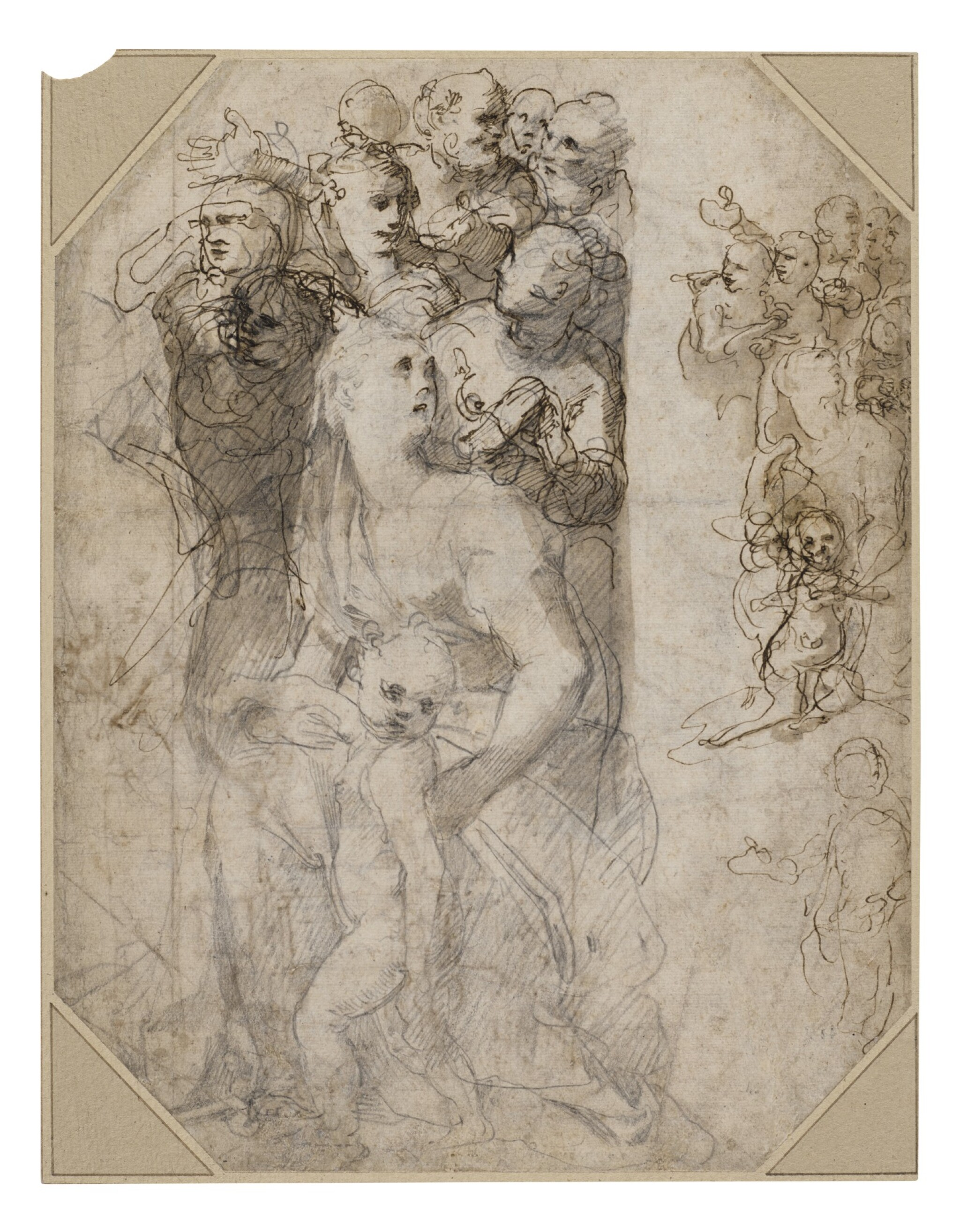 View full screen - View 1 of Lot 214. Recto: Two groups of figures, studies for the Frangipani Chapel, San Marcello al Corso Verso: Studies for the lunette above the altar in the Frangipani Chapel and an architectural design for a wall decoration.
