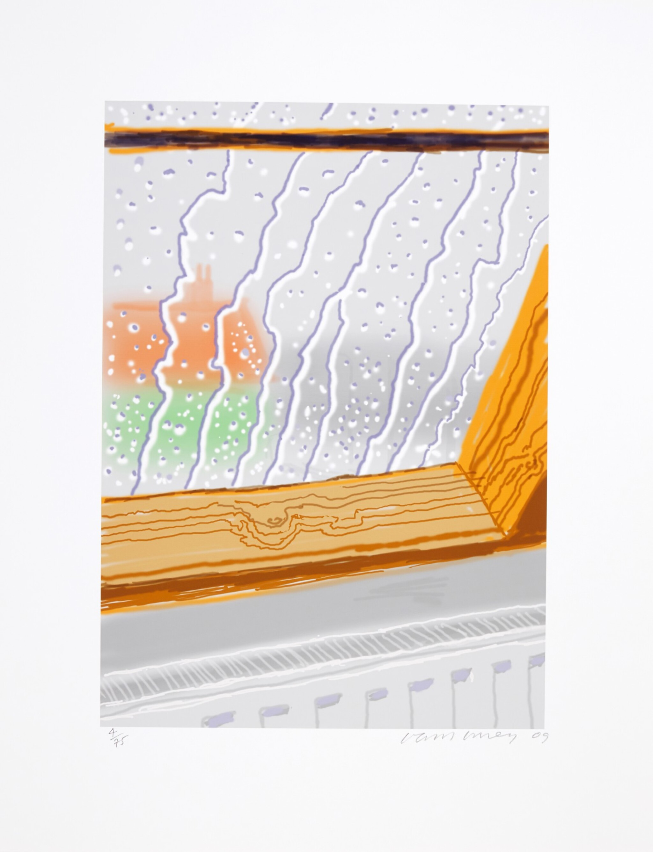 View full screen - View 1 of Lot 29. DAVID HOCKNEY R.A   RAIN ON THE STUDIO WINDOW.