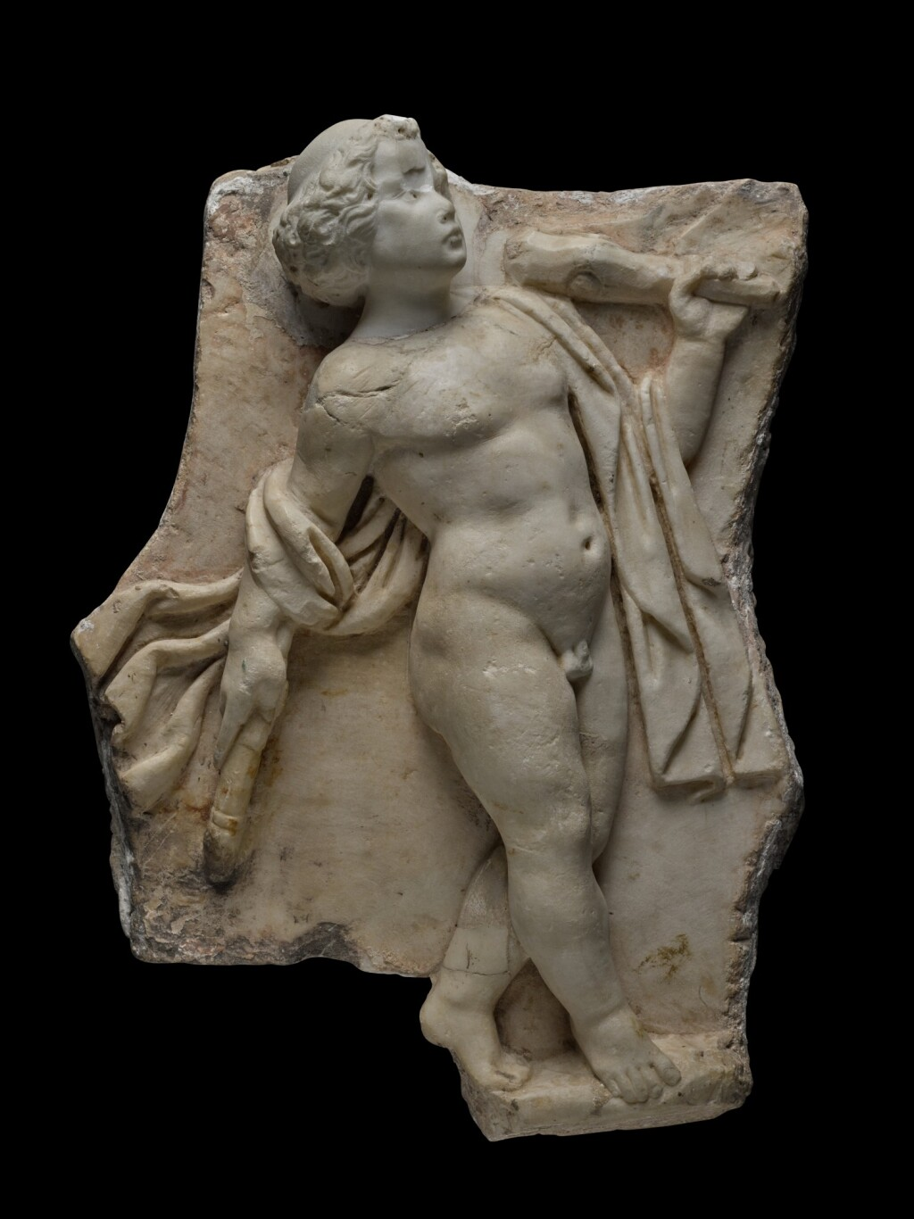 A ROMAN MARBLE SARCOPHAGUS RELIEF FRAGMENT, 2ND CENTURY A.D.
