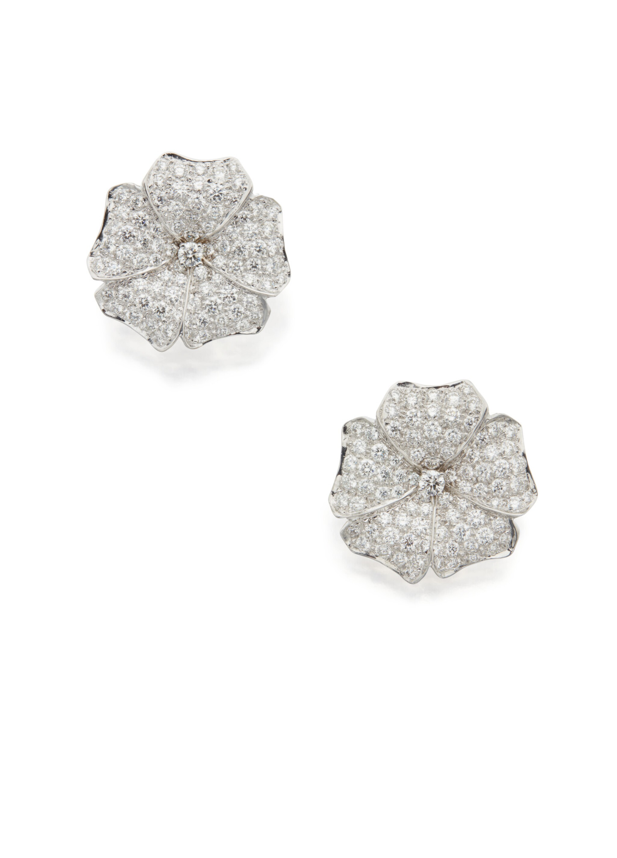 View full screen - View 1 of Lot 79. PAIR OF DIAMOND EARCLIPS.