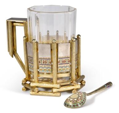 View 1. Thumbnail of Lot 210. A silver-gilt and champlevé enamel tea glass holder, Teodor Nugren, St Petersburg, 1874-1898.