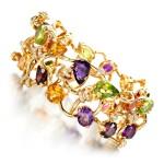 Gem set and diamond bracelet