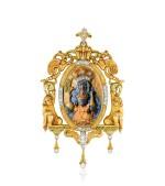 Pendentif ivoire, écaille de tortue et diamants   Ivory, tortoiseshell and diamond pendant