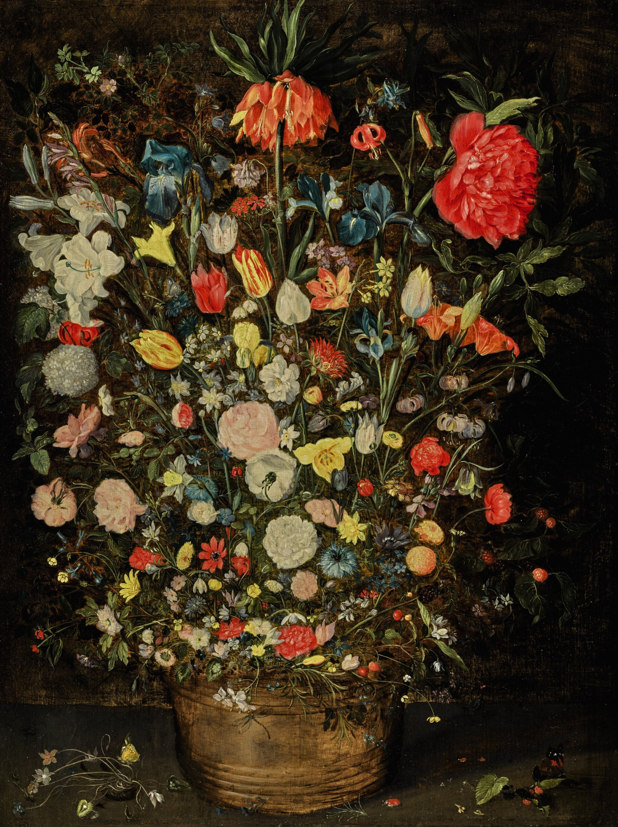 View full screen - View 1 of Lot 25. Still life with a large bouquet of flowers in a wooden bucket, including a crown imperial lily, roses, tulips and other flowers, with butterflies, insects and berries on the shelf beneath |《靜物畫:木盆裡的大束鮮花,包括一朵冠花貝母、玫瑰、鬱金香,盆架上有蝴蝶、昆蟲、莓果》.