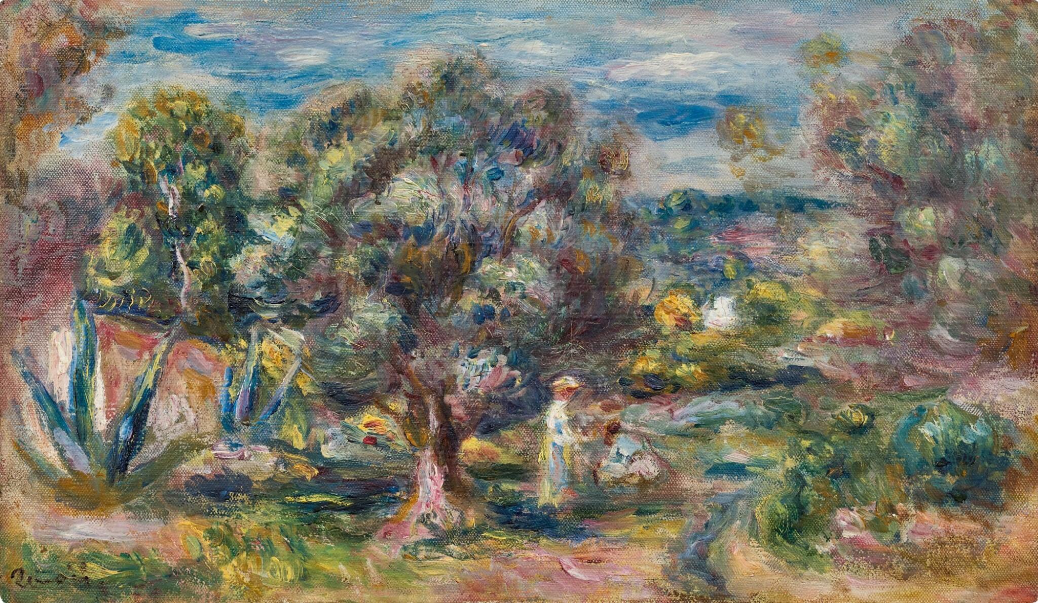 View full screen - View 1 of Lot 1016. Pierre-Auguste Renoir 皮耶・奧古斯特・雷諾瓦   Aloès, la cueillette à Cagnes 卡涅蘆薈採摘.