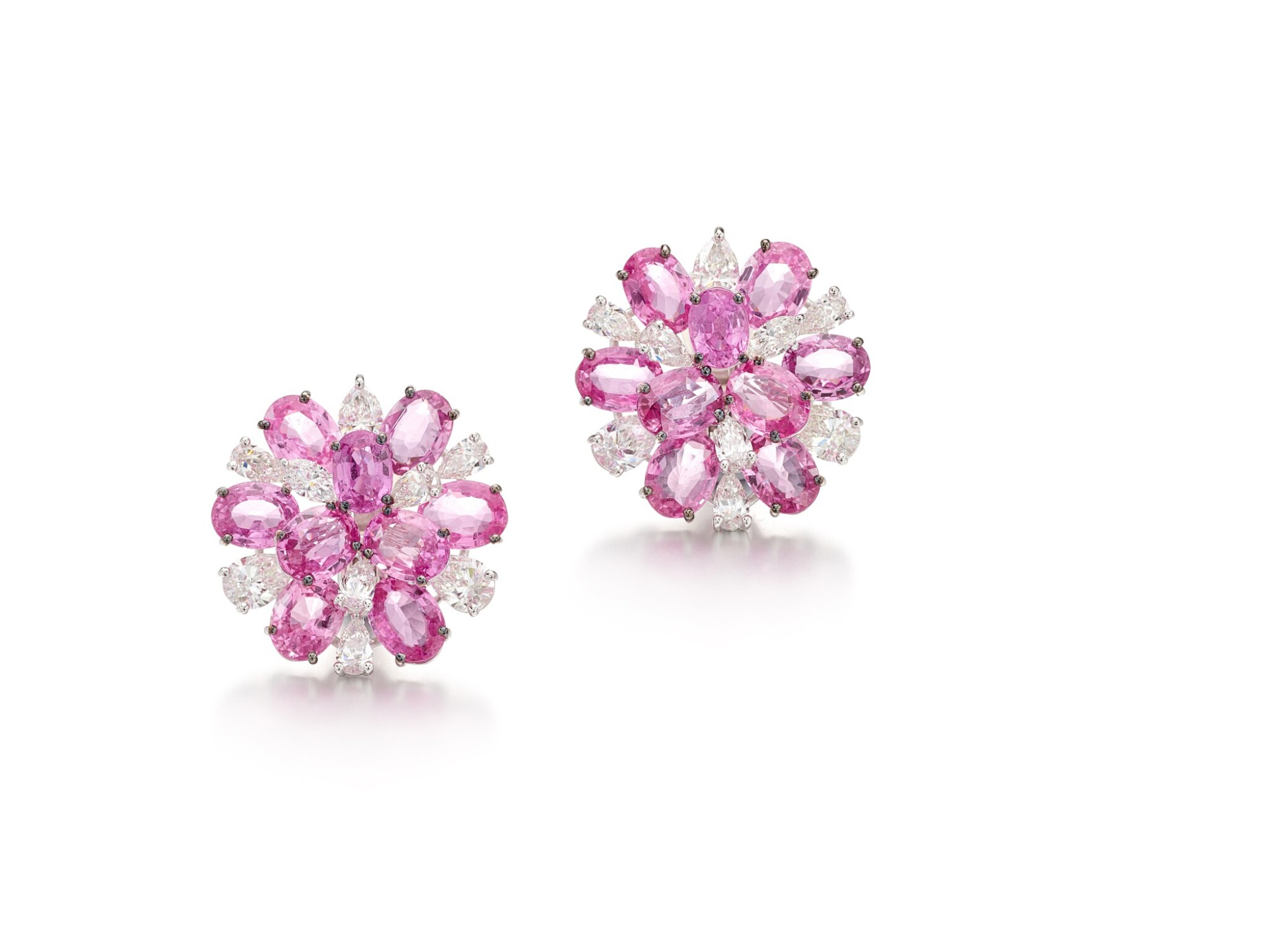 View full screen - View 1 of Lot 1700. Pair of Pink Sapphire and Diamond Earrings | 格拉夫 | 粉紅剛玉 配 鑽石 耳環一對.