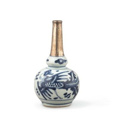 View 3. Thumbnail of Lot 376. A blue and white double gourd vase and two water sprinklers, China, Qing Dynasty, 17th-18th century.
