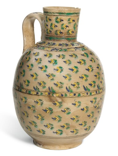 A KUTAHYA POLYCHROME POTTERY JUG, TURKEY, 18TH CENTURY