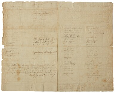 Connecticut: manuscript document signed by the commander of the Third Connecticut Regiment and almost 200 of his men