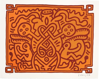 View 3. Thumbnail of Lot 140. KEITH HARING | CHOCOLATE BUDDHA 1-5 (L. PP. 122-125).
