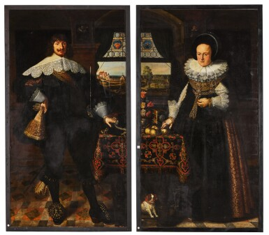 View 2. Thumbnail of Lot 139. Portrait of Johann Jobst Schmidtmaier von Schwarzenbruck (1611-47); Portrait of his wife, Anna Maria (1605-64), both standing, full-length, in interiors with landscapes visible through windows beyond.