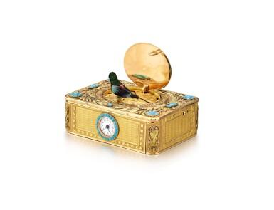 "View 3. Thumbnail of Lot 2092. LES FRÈRES ROCHAT   NO 181, A VARI-COLOUR GOLD AND TURQUOISE SINGING BIRD BOX WITH QUARTER REPEATING WATCH, CIRCA 1820   ""NO181 多色黃金鑲綠松石鳥鳴盒子,備大三針及二問鐘錶,約1820年製""."
