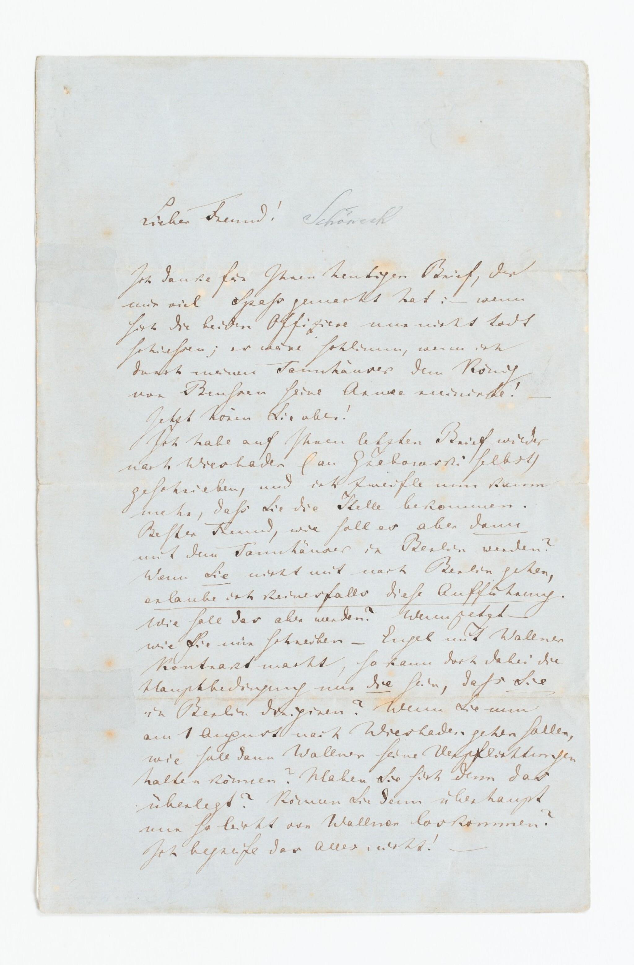 View 1 of Lot 139. WAGNER. Lettre autographe signée, en allemand, au chef d'orchestre Rudolf Schöneck.