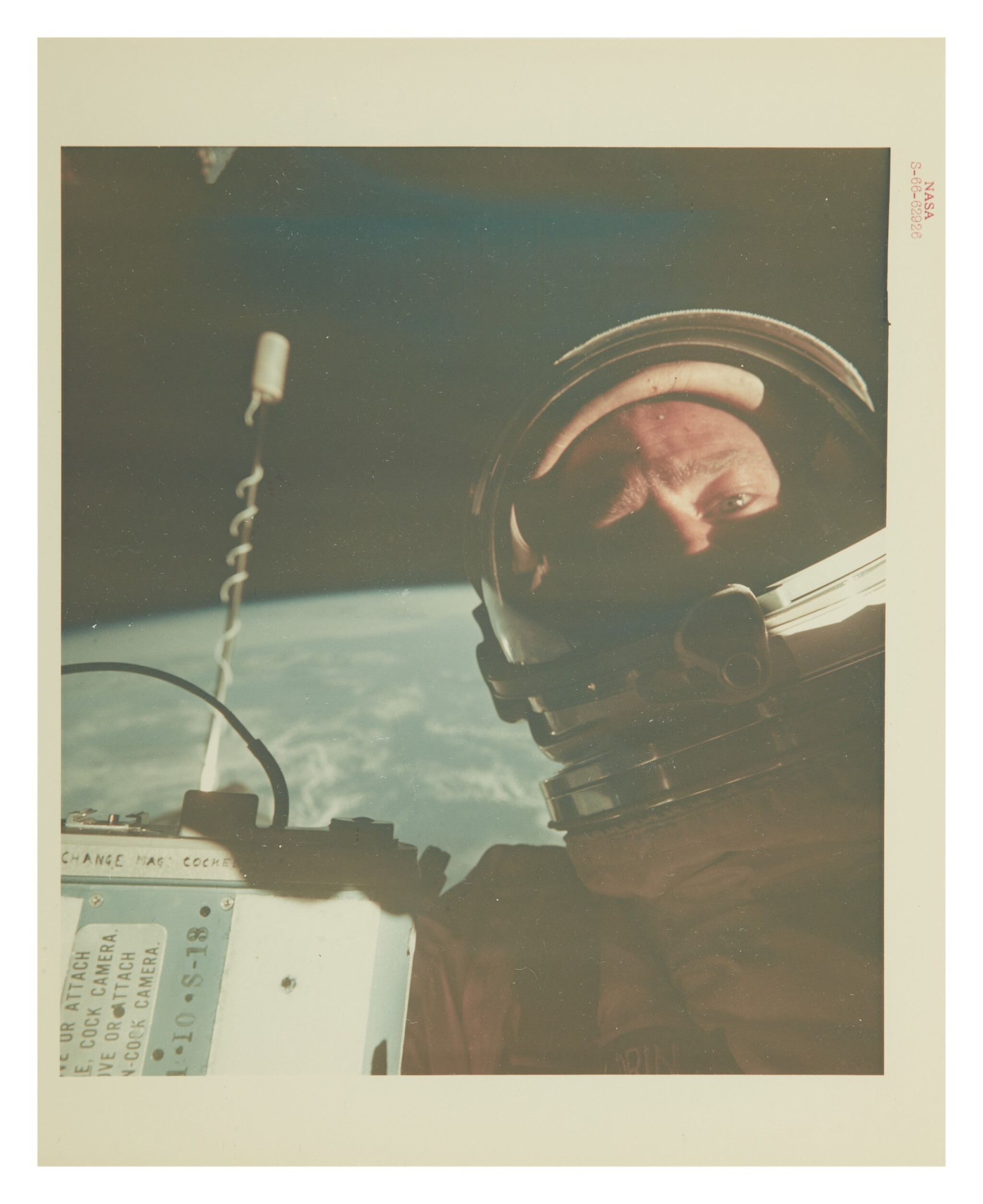 """View 1 of Lot 54. [GEMINI XII] BUZZ ALDRIN IN THE FIRST SPACE SELFIE. VINTAGE NASA """"RED NUMBER"""" PHOTOGRAPH, 12 NOVEMBER 1966.."""