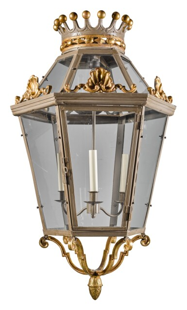 View 1. Thumbnail of Lot 194. A GREY PAINTED AND PARCEL-GILT HEXAGONAL LANTERN MODERN.