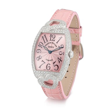 View 2. Thumbnail of Lot 8057. Franck Muller   Curvex, Reference 7502 QZ HJ, A white gold and diamond-set wristwatch, Circa 2000   Curvex 型號7502 QZ HJ  白金鑲鑽石腕錶,約2000年製.