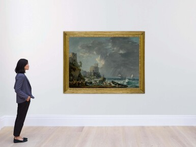 View 4. Thumbnail of Lot 605. A storm off a rocky coast, with a shipwreck in the foreground and a fort on the rocky shoreline above.