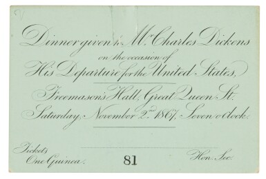 [Dickens], Material relating to Freemasons' Hall Banquet given to Charles Dickens, 1867