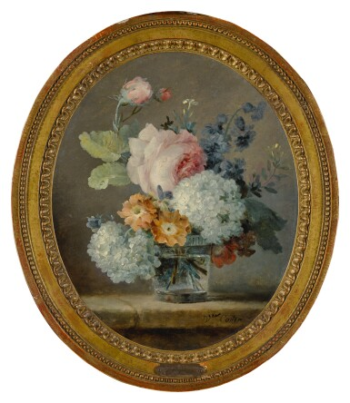View 2. Thumbnail of Lot 5. ANNE VALLAYER-COSTER | STILL LIFE OF ROSES, SNOWBALLS, PEONIES AND HYACINTHS IN A GLASS ON A LEDGE.