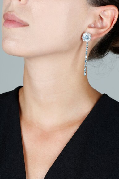 View 6. Thumbnail of Lot 131. JAMES GANH | PAIR OF TOPAZ AND DIAMOND EARRINGS.
