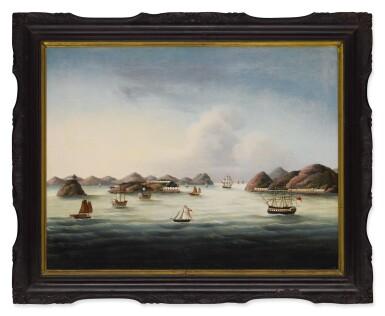 A View of the Boca Tigris Forts on the Pearl River, Qing Dynasty, circa 1840   清十九世紀  虎門風光  油畫  裝框