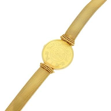 View 7. Thumbnail of Lot 66. A yellow gold coin bracelet watch, Circa 1970.