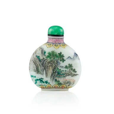View 2. Thumbnail of Lot 3011. An Enamel on White Glass 'Landscape' Snuff Bottle By Wang Xisan, Circa 1962-65 | 約1962-65年 王習三作料胎畫琺瑯山水圖鼻煙壺 《乾隆年製》仿款.