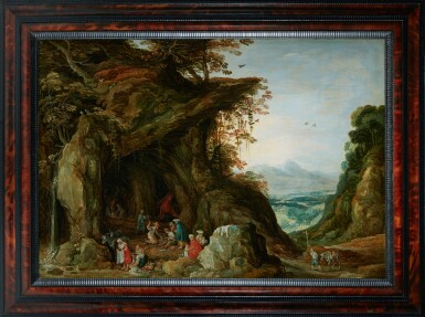 View 2. Thumbnail of Lot 60. WORKSHOP OF JOOS DE MOMPER | Landscape with gypsies in a cave.