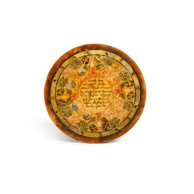 View 5. Thumbnail of Lot 1. A set of twelve Elizabethan polychrome decorated sycamore roundels, late 16th/early 17th century.