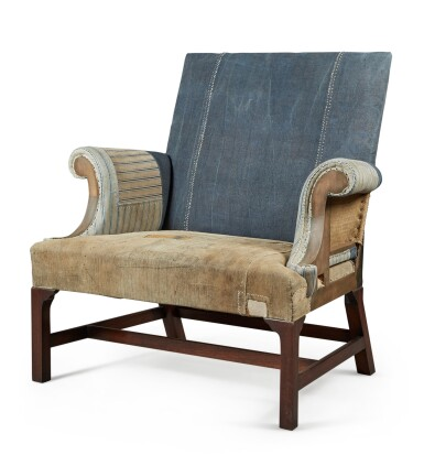 View 3. Thumbnail of Lot 13. A UNIQUE REYNOLDS MAHOGANY AND STAINED BEECH ARMCHAIR MADE BY HOWE, MODERN.