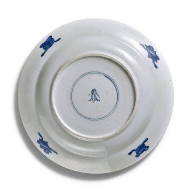 View 3. Thumbnail of Lot 40. A pair of blue and white 'dragon' dishes, Qing dynasty.