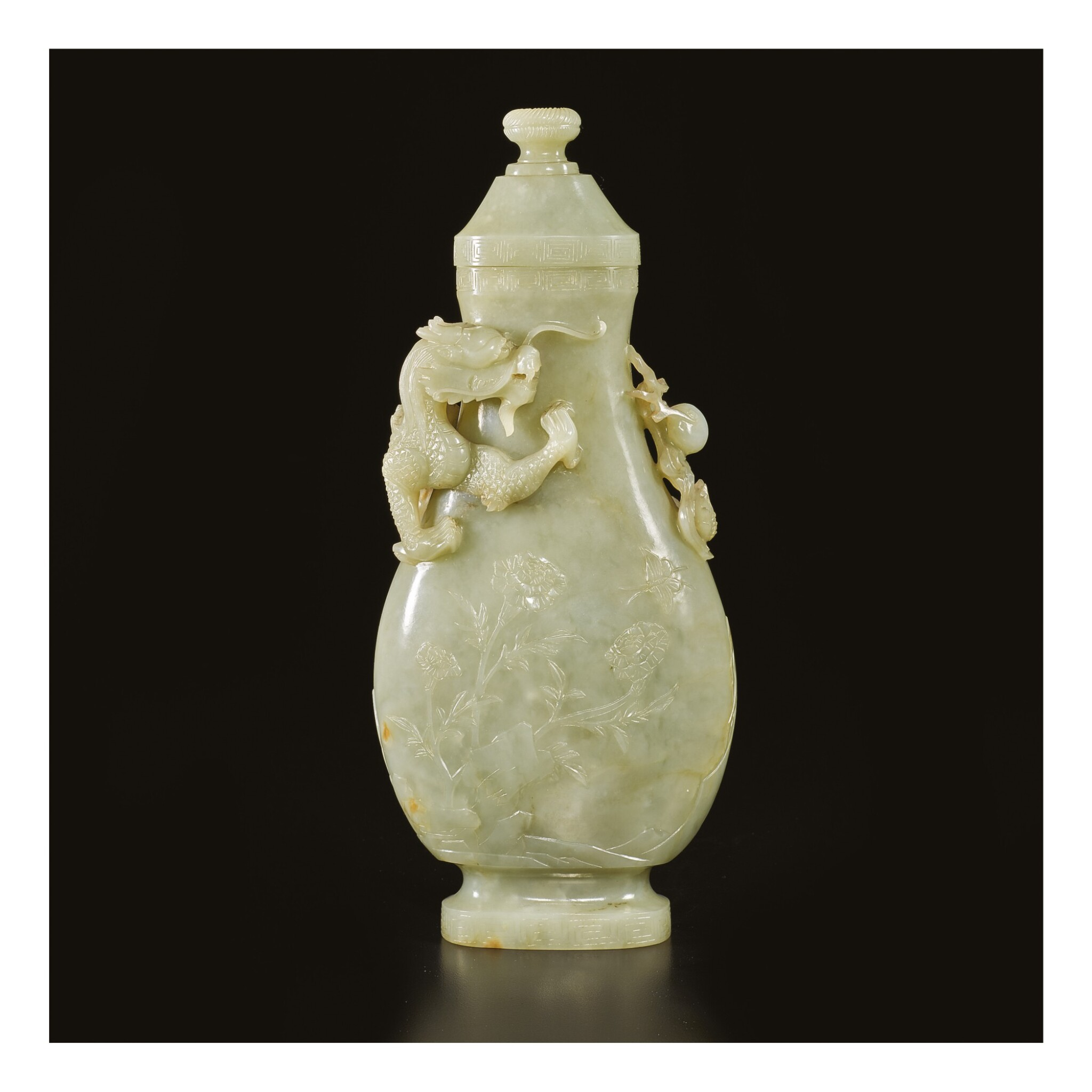 View full screen - View 1 of Lot 650. A CELADON JADE 'DRAGON' VASE AND COVER, QING DYNASTY, 18TH / EARLY 19TH CENTURY.