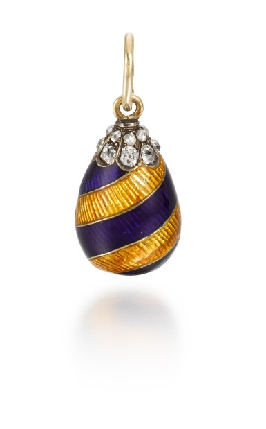 View 2. Thumbnail of Lot 7. A Fabergé jewelled gold and guilloché enamel egg pendant in the racing colours of Leopold de Rothschild, workmaster August Hollming, St Petersburg, circa 1910.
