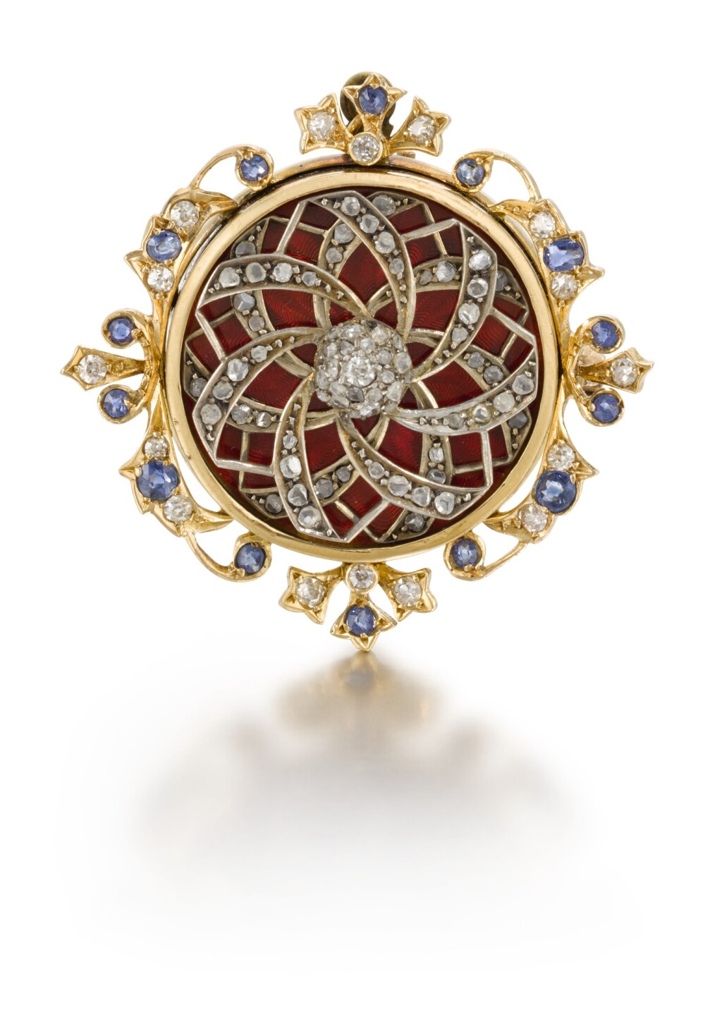 SWISS | A GOLD, ENAMEL, DIAMOND AND SAPPHIRE-SET AUTOMATON PENDANT-BROOCH, MADE FOR THE CHINESE MARKET  CIRCA 1880